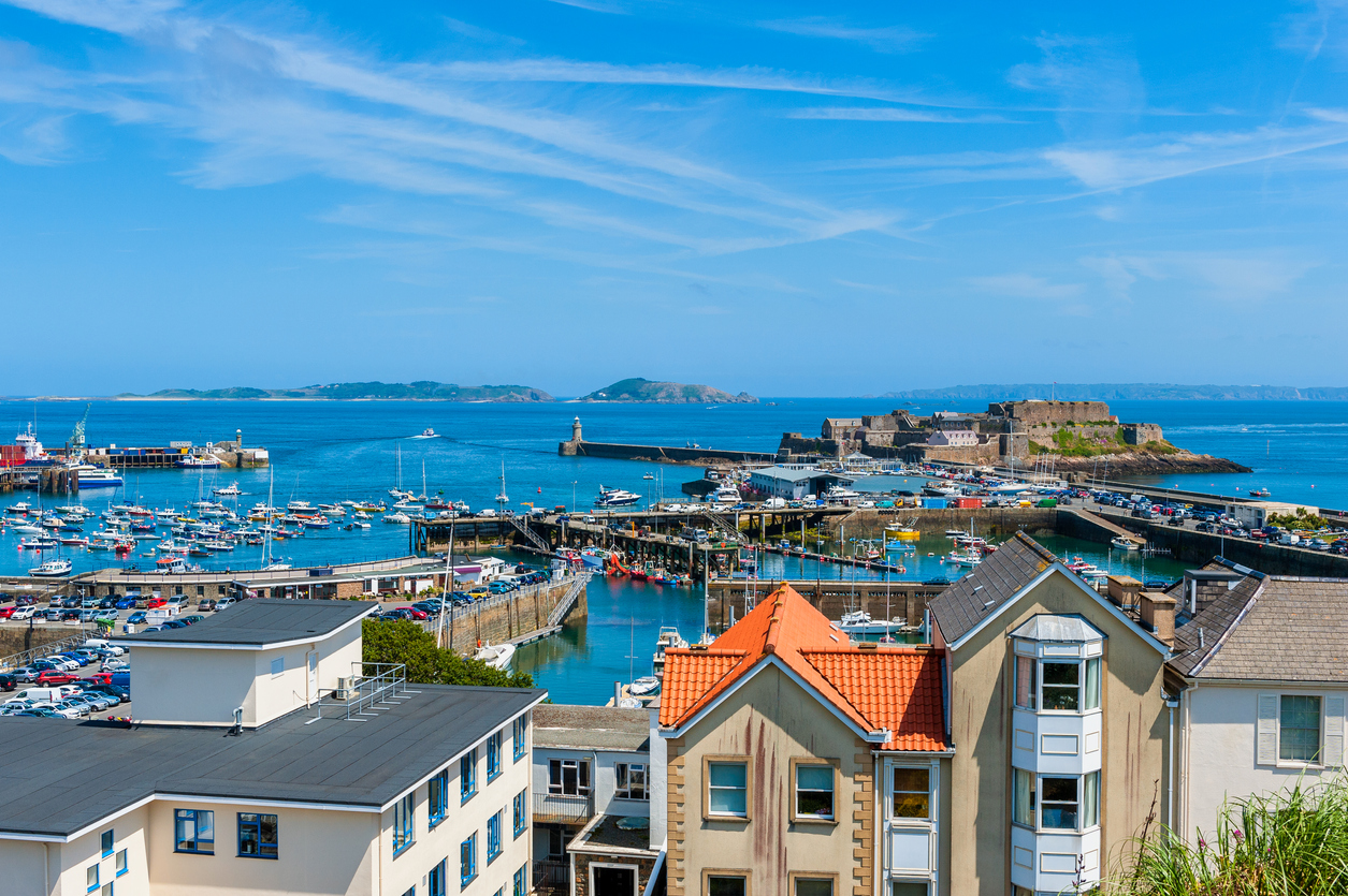 View over Harbor of Saint Peter Port Guernsey