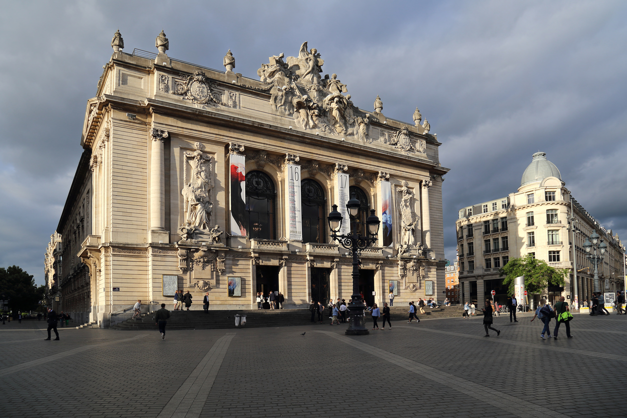 Opera building on Place de Theatre in Lille, France