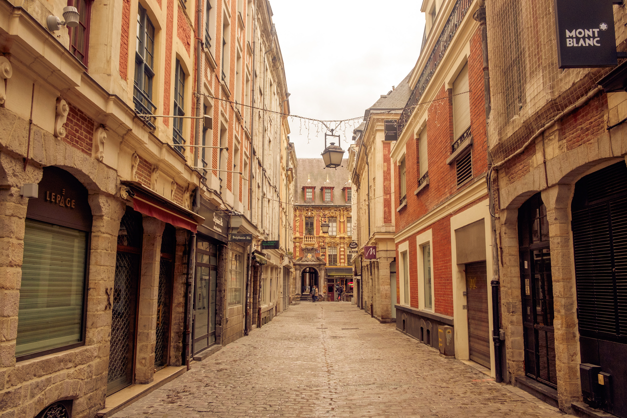 Empty street in old town of Lille