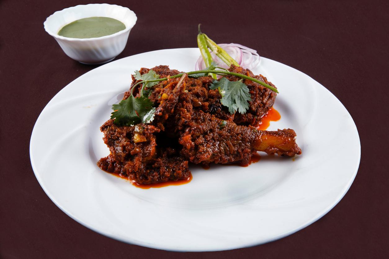 Indian lamb curry or Bhuna Mutton masala or Bhuna Gosht