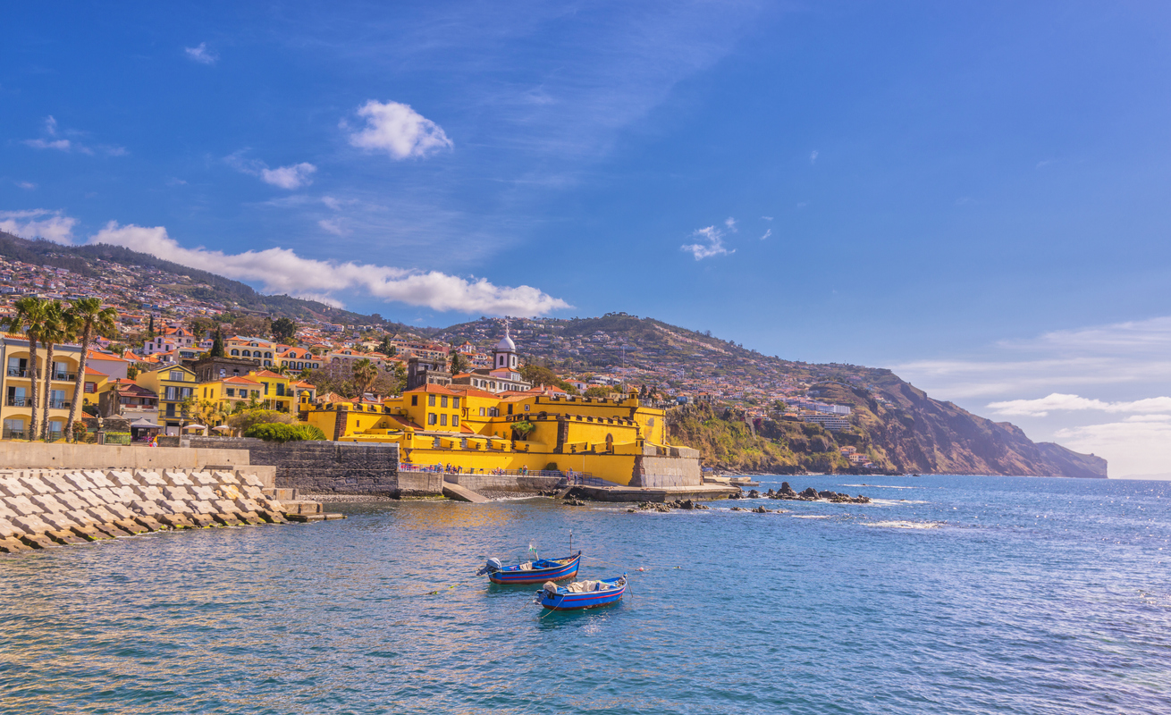 Waterfront of Funchal, Madeira. harbour holidays.