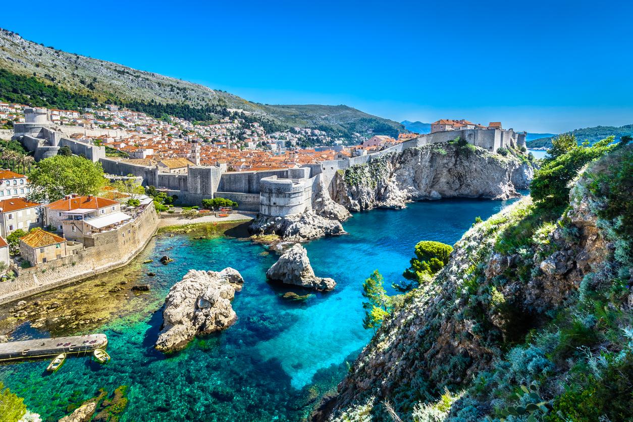 Adriatic Sea Dubrovnik landscape. Harbour holidays.