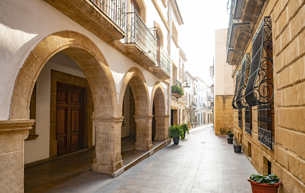 Javea Xabia Mediterranean street facades in Alicante Spain. Harbour holidays.