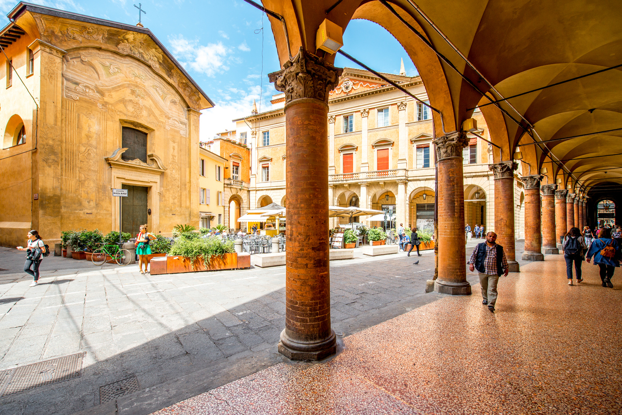 Street view in Bologna city