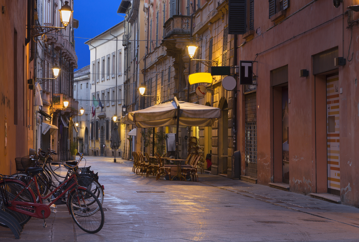 Reggio Emilia - The street of the old town at dusk
