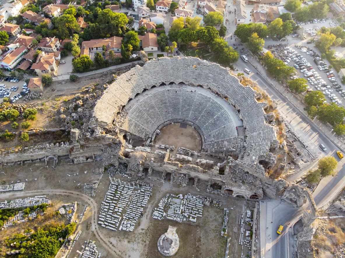 Aerial view of Side Antique City, Antalya, Turkey
