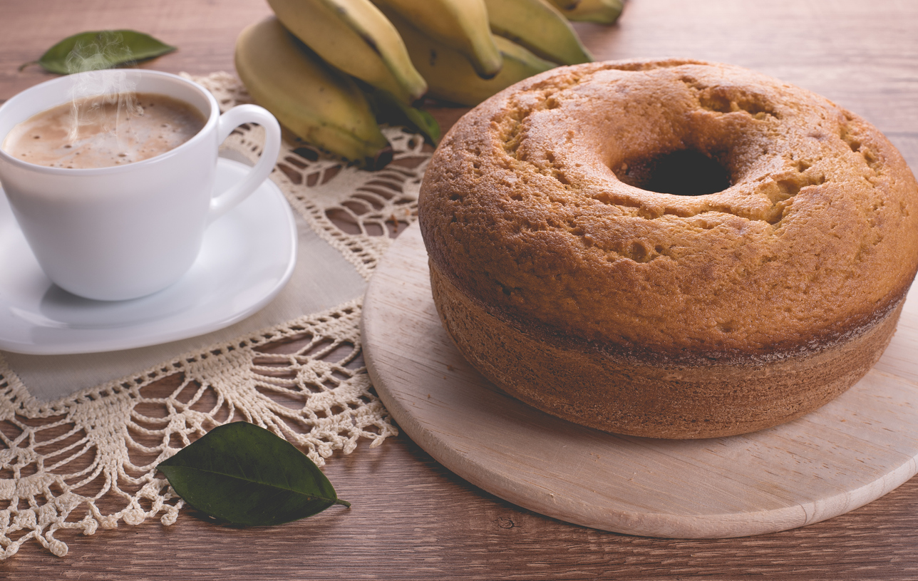 Traditional banana cake and a cup of coffee