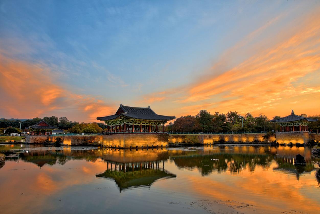Beautiful Sunset view at Donggung  and Wolji  in Gyeongju South Korea