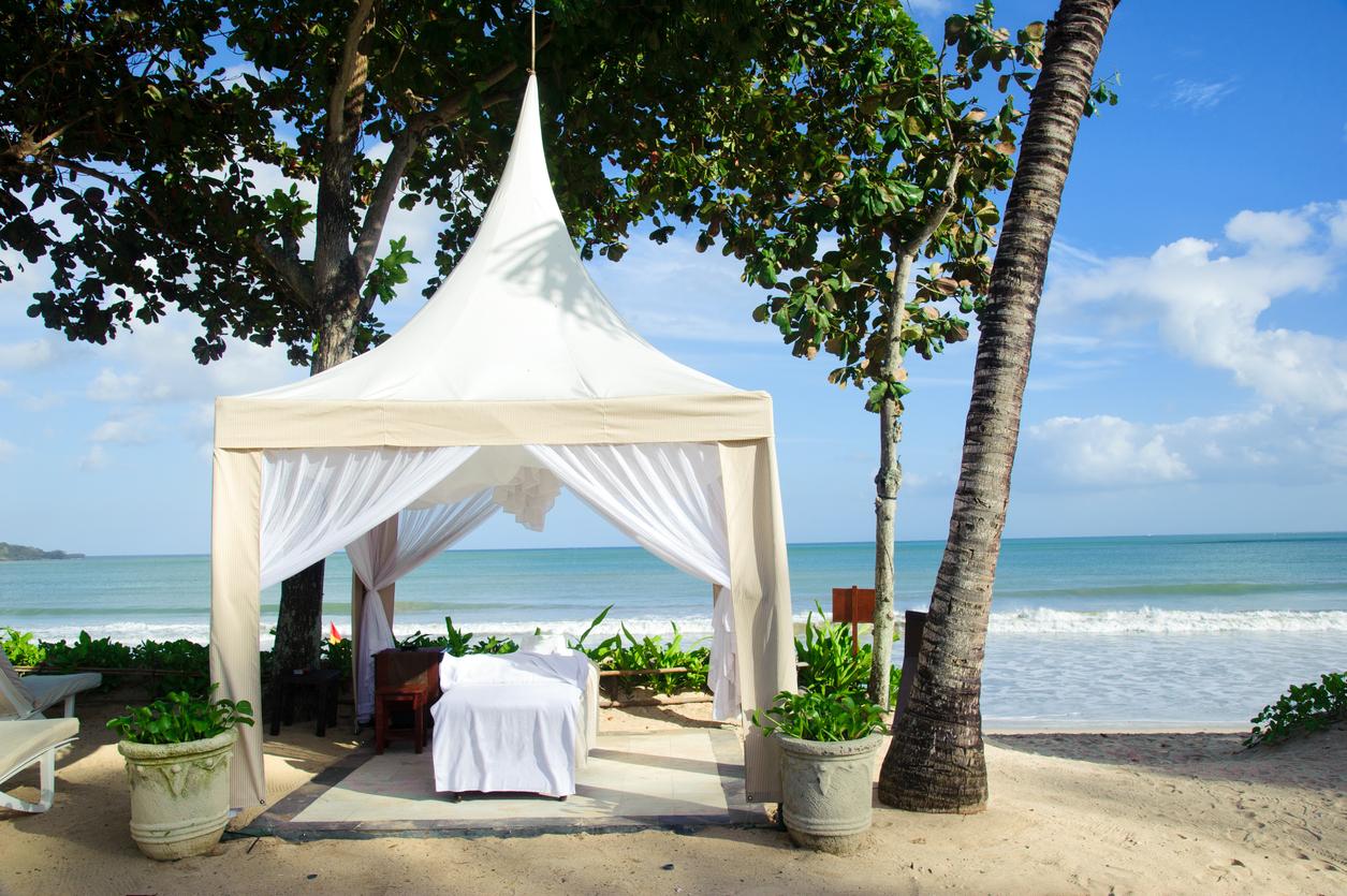Bali - massage pavilion on beach
