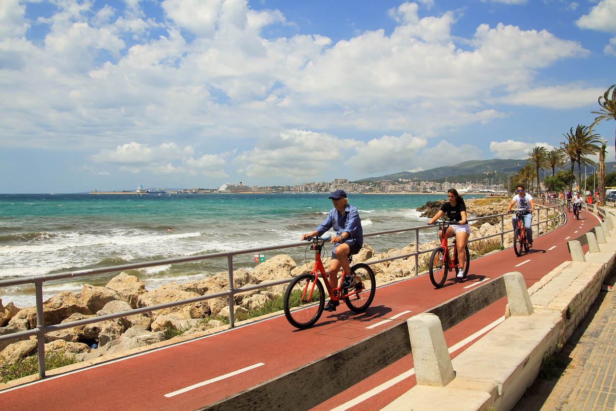 Cycling on the seafront of the Palma de Mallorca