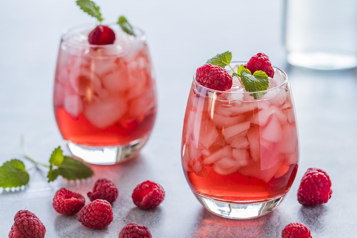 Raspberry summer cocktail