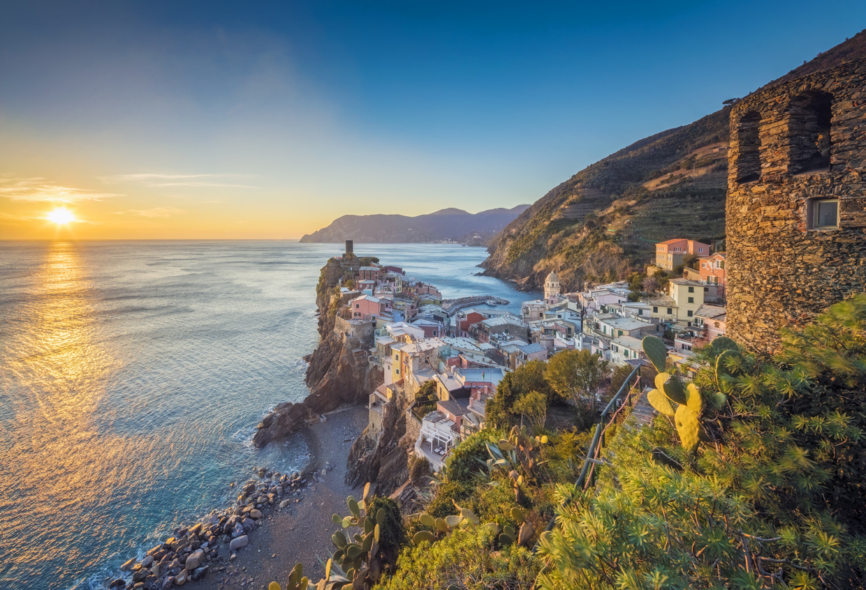 Vernazza at sunset, Cinque Terre National Park, Ligurian Riviera, Italy