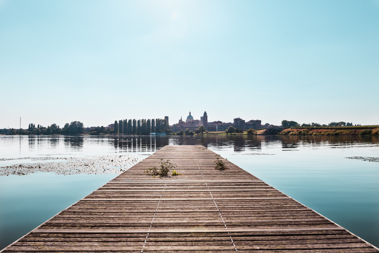 Mantua, Italy. From the pier to the lake