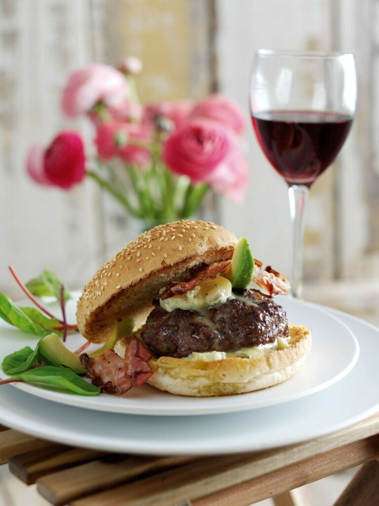 Burger with Pancetta, Avocado & Blue cheese butter - easy bbq ideas for dinner